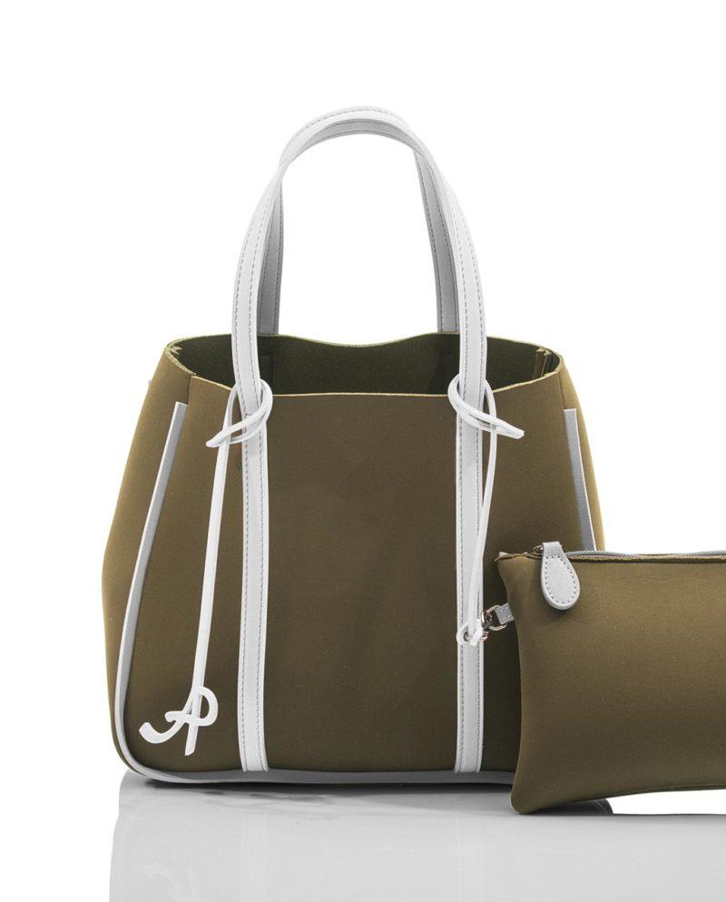 Open shopper donna arricchita da una pochette zip, entrambi realizzati in neoprene, di AP - Artpelle