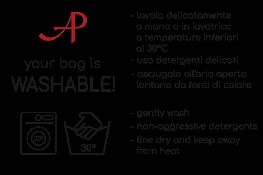 Cartellino per le istruzioni di lavaggio della borsa AP