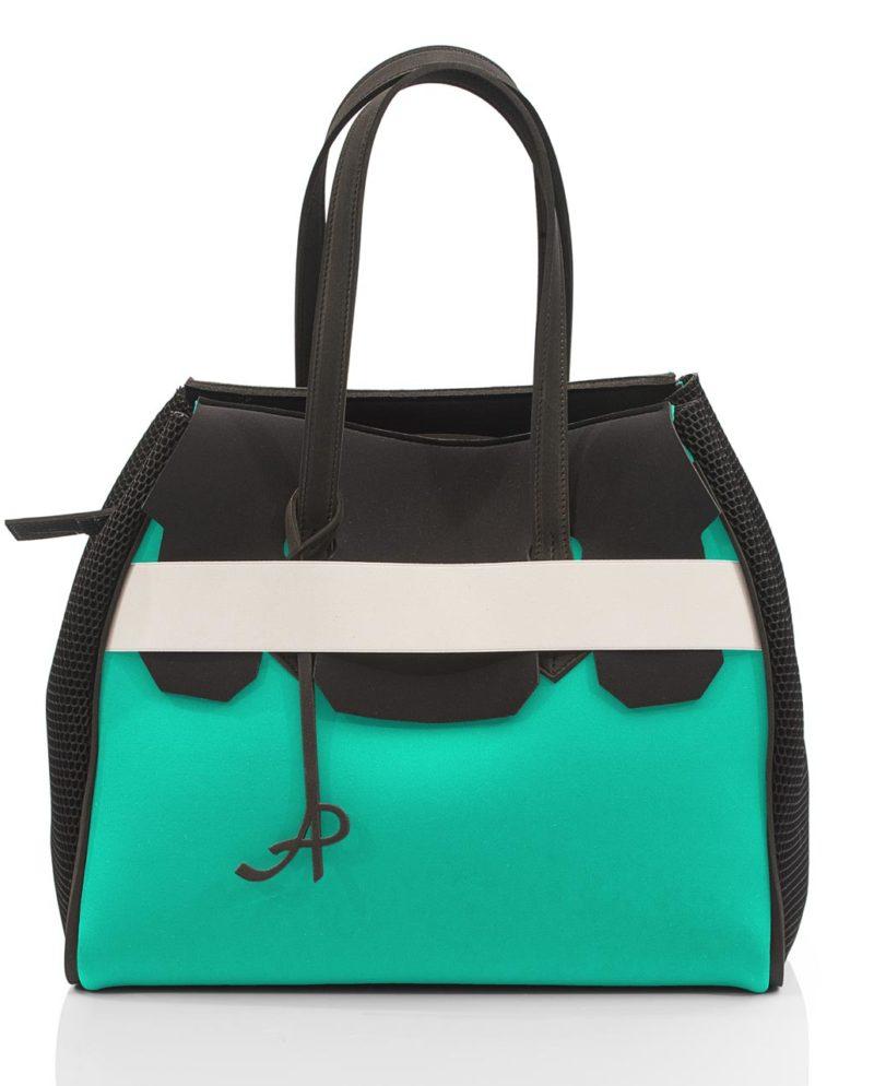 Shopper Neon donna con fascia elastica, rete e zip. Un modello della linea NEON, collezione AP di ArtPelle