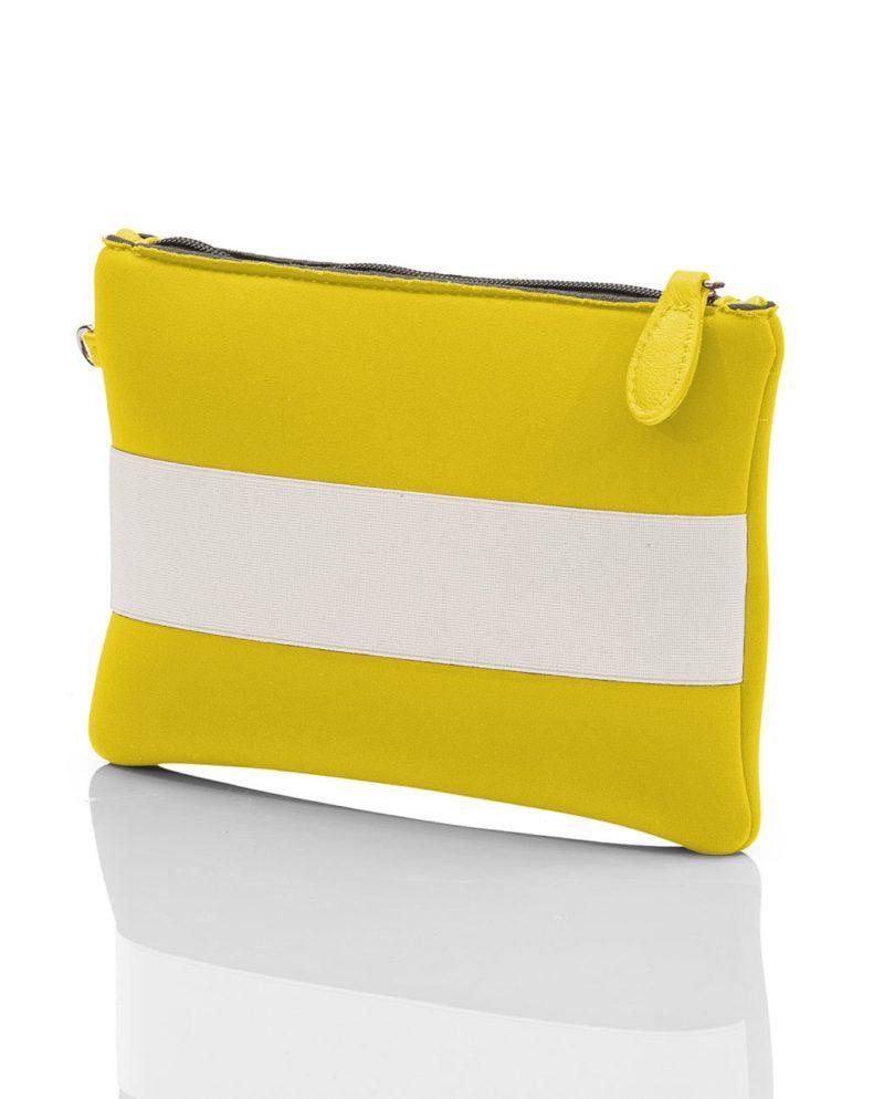 Clutch è una borsetta da donna con inserti in rete, fascia elastica e zip. Un modello della linea NEON, collezione AP di ArtPelle
