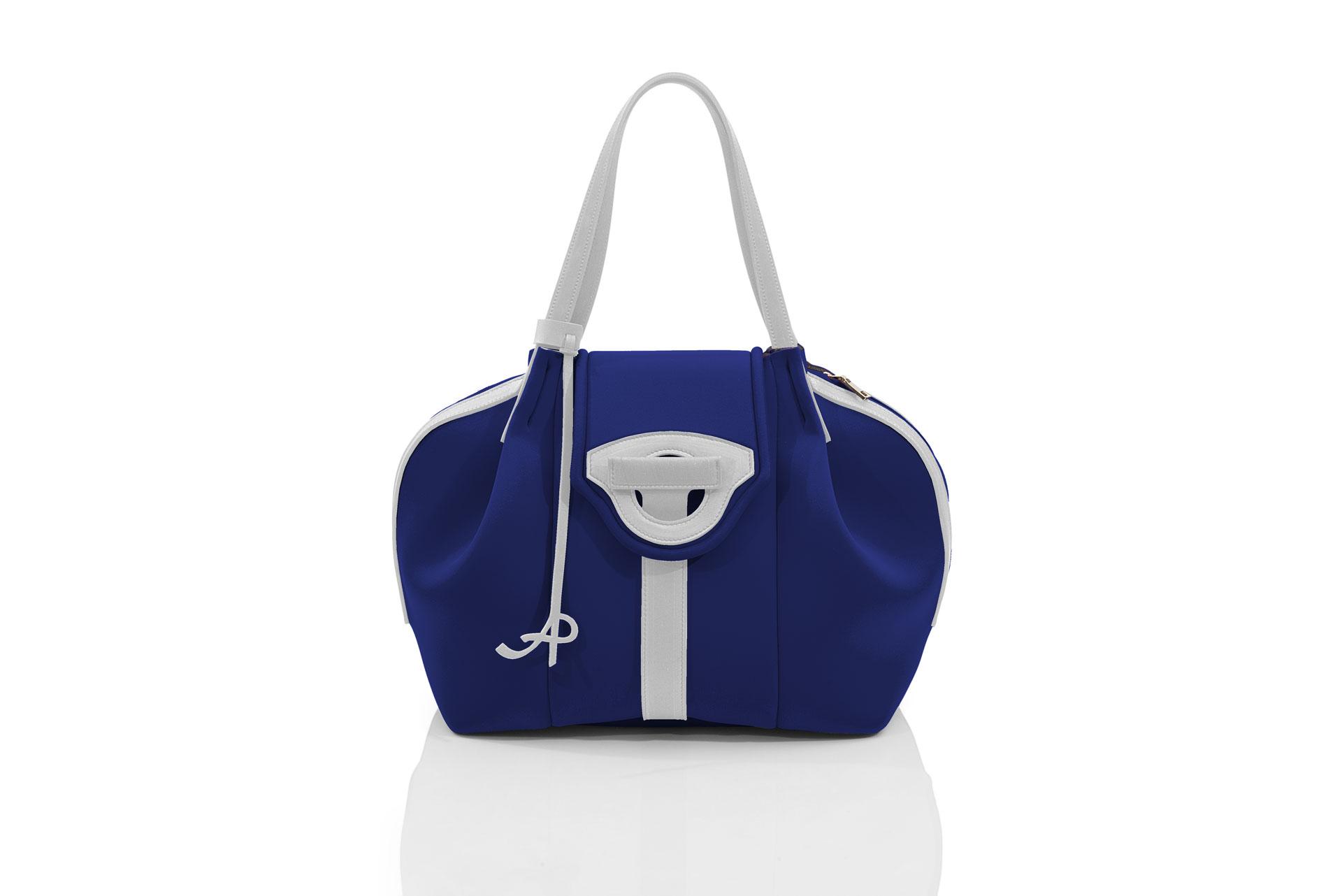 Italian Shopper Gala Handmade Bianco Bags Donna Cobalto Blu Artpelle wqYzHq1P