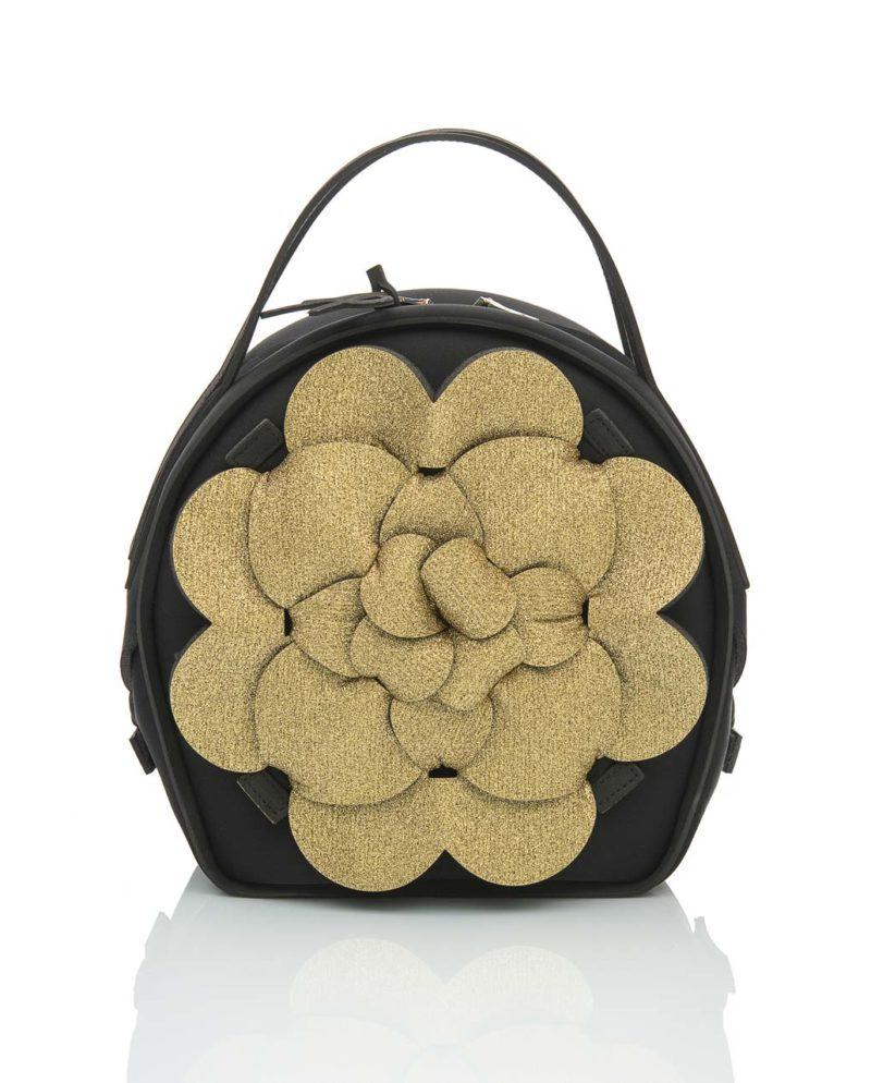 Chapelier, borsa da donna con inserti in rete, fascia elastica e zip. Un modello della linea DALÌ LUMIÈRE, collezione AP di ArtPelle
